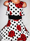 GIRLS 50s STYLE RED FLORAL SPOT PRINT SWING TOP LAYER FLARED PARTY DRESS