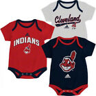 Infant Cleveland Indians Bodysuit 3-Pack Set Team Graphics Baby