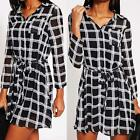 Womens Long Sleeve Chiffon Blouse Check Shirt Dress Belted Top Size S-XL Y9M0