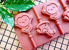 5 x Silicone Monkey Bunny Lollipop Chocolate Mould Ice Cube Jelly Lolly