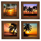 NEW Palm Sunsets Framed Ceramic Tile / Wall Art Tile / Entry Table Plaque Stand