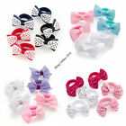 GIRLS 6pc SMALL LITTLE HAIR BOWS ON PONIO BANDS ELASTICS BOBBLES PASTELS SPOTS.