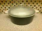 large corning casserole dish no 1183 navy blue with white inside clear pyrex lid