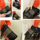 Womens Rivet Wallet Clutch Zipper Purse Evening Bag Wristlet Striking Handbag