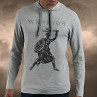 Mens Gym Spartan Grey Long Sleeve T Shirt With Hood Muscle Fitness Top Hoodie