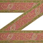 """ANTIQUE VINTAGE SAREE BORDER HAND BEADED CRAFT TRIMS PAISLEY LACE 6""""W PINK"""