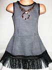 GIRLS GREY BLACK TASSELS TRIM WINTER KNIT PARTY DRESS with NECKLACE