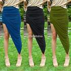 Hot Sell Women Elegant Asymmetrical Solid High Low Wrapped Draped Cut Out Skirt