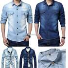 Mens Casual Denim Shirt Long Sleeve Slim Fit Dress Shirt TOP Jeans Shirt T-shirt