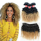 Ombre 100g Remy Brazilian Virgin Deep Curly Human Hair #1b/27 Weft Extensions