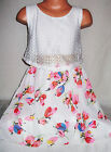 GIRLS WHITE LACE TOP PINK FLORAL PRINT BOW TRIM DIP HEM CHIFFON PARTY DRESS