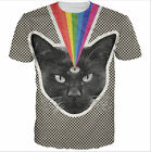 New Fashion Women/Mens colorful rainbow Cat 3D Print Casual Graphic T-Shirt G2