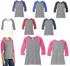 LADIES ATHLETIC STYLE T-SHIRT, 3/4 SLEEVE, SPIRIT, BASEBALL XS S M L XL 2X 3X 4X