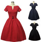Vintage 1950S 60S Rockabilly Women Short Sleeve Cocktail Party Prom Swing Dress