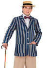 MENS VICTORIAN EDWARDIAN COSTUME STRIPED JACKET & STRAW BOATER HAT FANCY DRESS