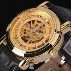 Classic Men's Gold Stainless Steel Skeleton Automatic Mechanical Sport Watch