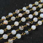 16Ft 5~6mm Natural Agate Rondelles Seed Rosary Beaded Chain Wire Wrapped BJT071