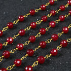 16Ft 5~6mm Red Agate Rondelles Seed Rosary Beaded Chain Wire Wrapped DIY BJT075