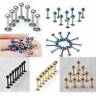 10pcs Stainless Steel Lip Chin Labret Bar Ring Stud Ball Tragus Body Piercing CO