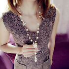 1Pc Elegant Flower Peral Necklace Long Tassels Pendant Chain Sweater Necklace