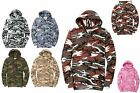 MEN'S MILITARY CAMO, CAMOUFLAGE, LIGHTWEIGHT PULLOVER HOODIE, COTTON/POLY, S-4XL