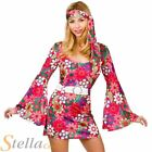 Ladies Retro Go Go Girl 60s 70s Hippy Hippie Fancy Dress Costume Adult Outfit