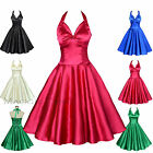 Maggie Tang 50s Satin VTG Retro Rockabilly Pinup Party Swing Dress S-501