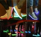 Unisex - USB Charger LED Light Up Laced Luminous Shoes - White - Casual Sneakers
