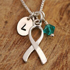 925 Sterling Silver Personalised Awareness Ribbon Pendant Necklace & Initial Tag