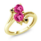 1.78 Ct Pink Created Sapphire & Mystic Topaz 18K Yellow Gold Plated Silver Ring