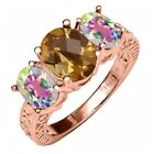 3.00 Ct Checkerboard Quartz and Mystic Topaz 18K Rose Gold Plated Silver Ring