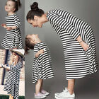 2016 Mother Daughter Dresses Striped Long Dress Women's Family Look Clothing Top