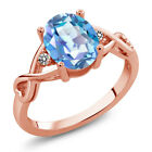 1.86 Ct Mystic Quartz White Diamond 18K Rose Gold Plated Silver Ring