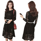 NEW Fashion White/Black Slim Fit BOHO Hollow Floral Lace Long Sleeve Party Dress