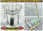 CHANDELIER BOBECHE DISH GLASS BOWL DRIP TRAY VINTAGE CRYSTALS BEADS DROPS PRISMS
