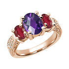 2.90 Ct Oval  Purple Amethyst African Red Ruby 14K RG  Ring
