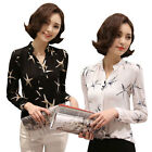 Fashion Women V Neck Long Sleeves Joker Colors Slim-fit Chiffon Shirt Top Blouse