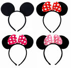 FD3480 Mickeys Minnies Mouse Ears Bow Headband Hen Nights Women Girl Party Fancy