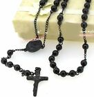 """27"""" 28"""" 32"""" 316L Stainless Steel 6mm Rosary Black Bead Necklace With Crucifix"""