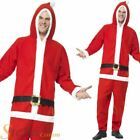 Mens Santa Claus Onesie Father Christmas Fancy Dress Costume Adult Outfit