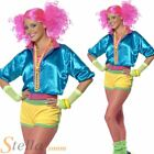 Ladies Skater Girl Fancy Dress Costume 70s 80s Neon Roller Disco Adult Outfit