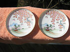 Vintage Hand Painted Asian Porcelain 2 saucers sakura & mountains
