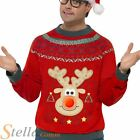 Mens Rudolph Reindeer Light Up Christmas Jumper Fancy Dress Costume Xmas Outfit
