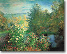 HUGE Monet The Corner Garden Montgeron Stretched Canvas Giclee Repro ALL SIZES