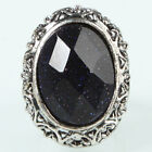 New Star Style Oval Lansha Ring Jewelry Size 6 7 1/4 8 10 Black