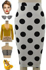 50s Style Off WHITE Big POLKA DOT Print High Waist Wiggle PENCIL Skirt