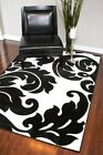 RUGS AREA RUGS CARPET AREA RUG BLACK AND WHITE RUG MODERN LARGE RUGS FLORAL NEW~