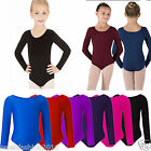Child Girls kids Sleeved Dance Gymnastics Leotard Sports Stretchy Uniform Top ...