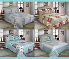 Double | King Size Floral Patchwork Quilted Bedspread Set - Blue Pink Cream Red