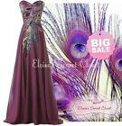 PEACOCK Feather Purple Sequin Embellished Ballgown Prom Dress UK SALE LTD STOCK